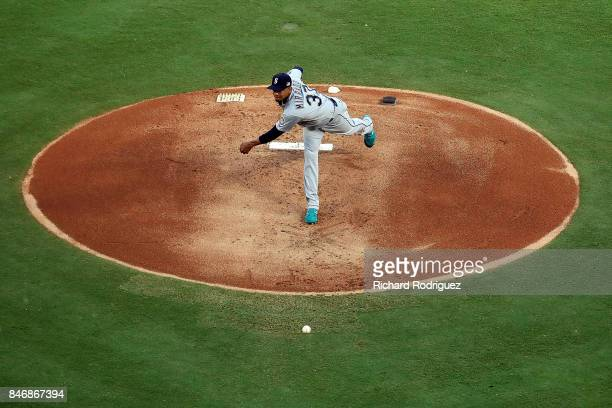 Ariel Miranda of the Seattle Mariners pitches against the Texas Rangers at Globe Life Park in Arlington on September 11 2017 in Arlington Texas