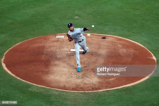 Ariel Miranda of the Seattle Mariners pitches in the first inning of a game against the Texas Rangers at Globe Life Park in Arlington on September 11...