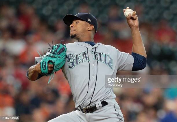 Ariel Miranda of the Seattle Mariners pitches in the first inning against the Houston Astros at Minute Maid Park on July 17 2017 in Houston Texas