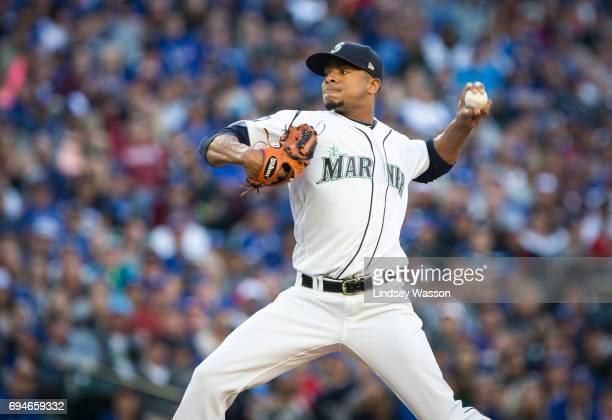 Ariel Miranda of the Seattle Mariners pitches in the second inning against the Toronto Blue Jays at Safeco Field on June 10 2017 in Seattle Washington
