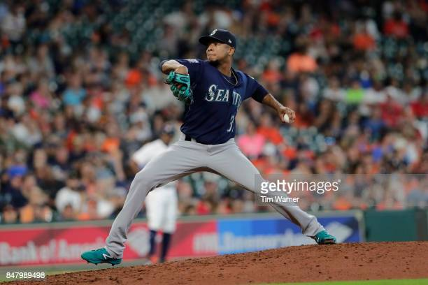 Ariel Miranda of the Seattle Mariners pitches in the sixth inning against the Houston Astros at Minute Maid Park on September 16 2017 in Houston Texas