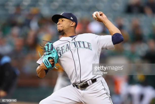 Ariel Miranda of the Seattle Mariners pithes against the Oakland Athletics in the first inning at Oakland Alameda Coliseum on August 8 2017 in...