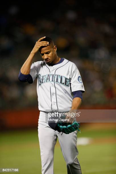 Ariel Miranda of the Seattle Mariners stands on the field during the game against the Oakland Athletics at the Oakland Alameda Coliseum on August 8...