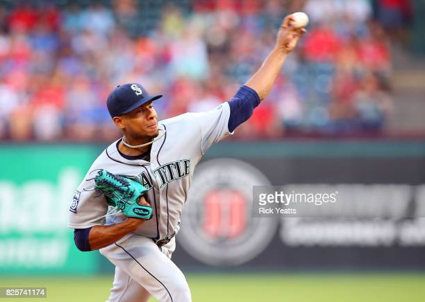 Ariel Miranda of the Seattle Mariners throws in the first inning against the Texas Rangers at Globe Life Park in Arlington on August 2 2017 in...