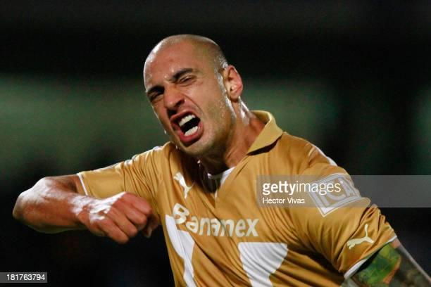 Ariel Nahuelpan of Pumas celebrates the second goal during a match between Pumas and Queretaro as part of the Copa MX at Olimpico Universitario...
