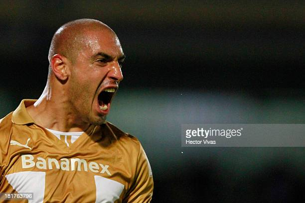 Ariel Nahuelpan of Pumas celebrates the second goal during a match between Pumas and Queretaro as part of the Copa MX at Olimpico Universitario...
