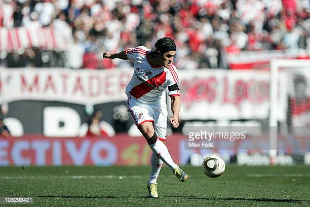 Ariel Ortega of River Plate in action during a IVECO Bicentenario Apertura 2010 soccer match between River Plate and Tigre at the Antonio Vespucio...