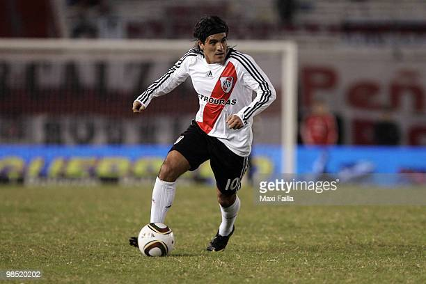 Ariel Ortega of River Plate in action during an Argentina's first division match against Godoy Cruz at El Monumental Stadium on April 17 2010 in...