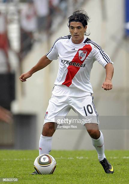 Ariel Ortega of River Plate in action during an Argentine championship Primera A soccer match between River Plate and Banfield at the River Stadium...