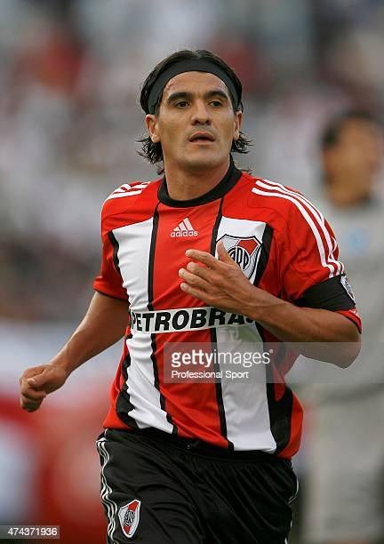 Ariel Ortega of River Plate in action during the Primera Division closing season match between River Plate and Gimnasia de Jujuy at the Estadio...