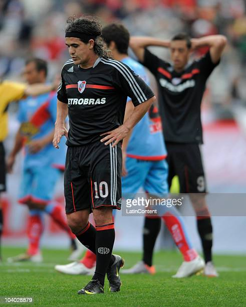 Ariel Ortega of River Plate reacts in lament after missing a chance of goal during a match against Arsenal as part of the IVECO Bicentenario Apertura...