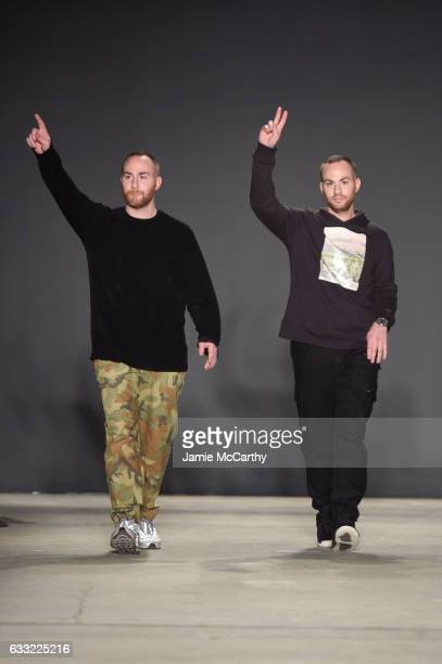 Ariel Ovadia and Shimon Ovadia walk the runway during the Ovadia Sons Runway show finale during NYFW Men's at Skylight Clarkson North on January 31...