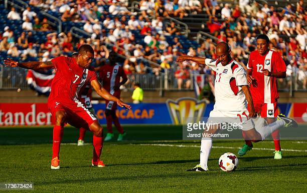 Ariel Pedro Martinez shoots and scores his second goal against Belize in the second half during the CONCACAF Gold Cup match at Rentschler Field on...