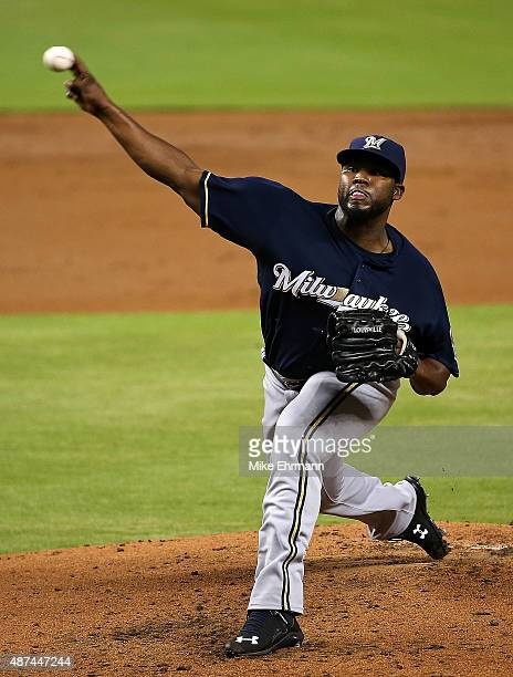 Ariel Pena of the Milwaukee Brewers pitches during a a game against the Miami Marlins at Marlins Park on September 9 2015 in Miami Florida