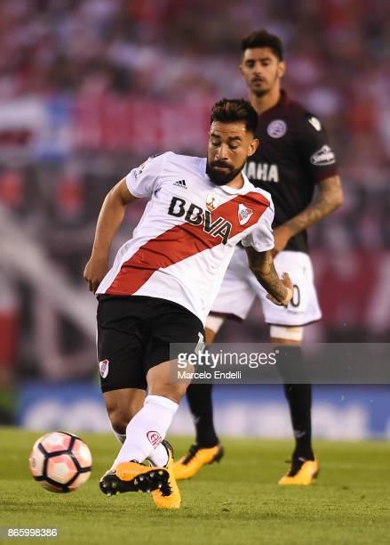 Ariel Rojas of River Plate kicks the ball during a first leg match between River Plate and Lanus as part of semifinals of Copa CONMEBOL Libertadores...