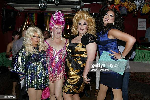 Ariel Sinclair Tiffany Wells Gusty Wind and Renee Fleming attend Alex Carr's birthday celebration at The Stonewall Inn on June 16 2012 in New York...