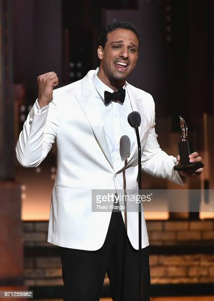 Ari'el Stachel accepts the award for Best Performance by an Actor in a Featured Role in a Musical for The Band's Visit during the 72nd Annual Tony...
