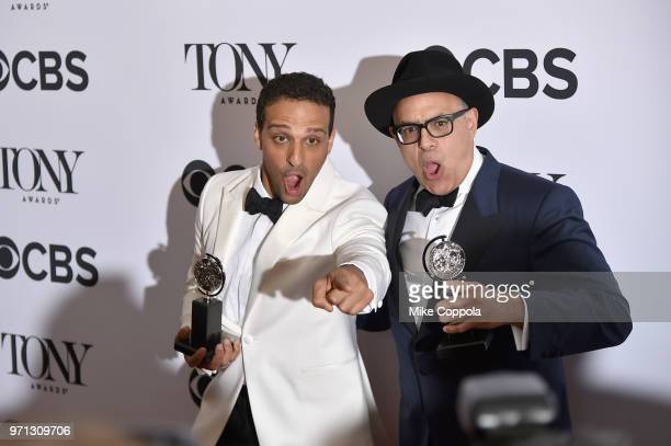 Ari'el Stachel and David Yazbek pose in the 72nd Annual Tony Awards Media Room at 3 West Club on June 10 2018 in New York City