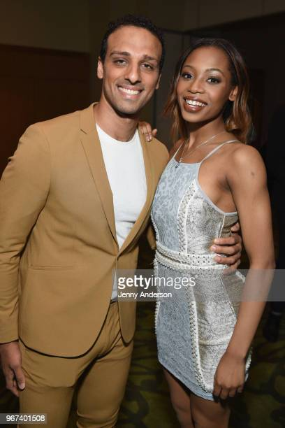 Ari'el Stachel and Hailey Kilgore attend the Tony Honors Cocktail Party Presenting The 2018 Tony Honors For Excellence In The Theatre And Honoring...
