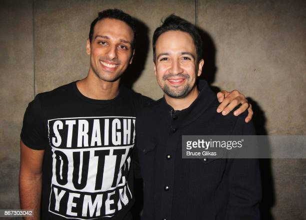 Ari'el Stachel and Lin Manuel Miranda pose backstage at the new hit musical 'The Band's Visit' on Broadway at The Ethel Barrymore Theatre on October...