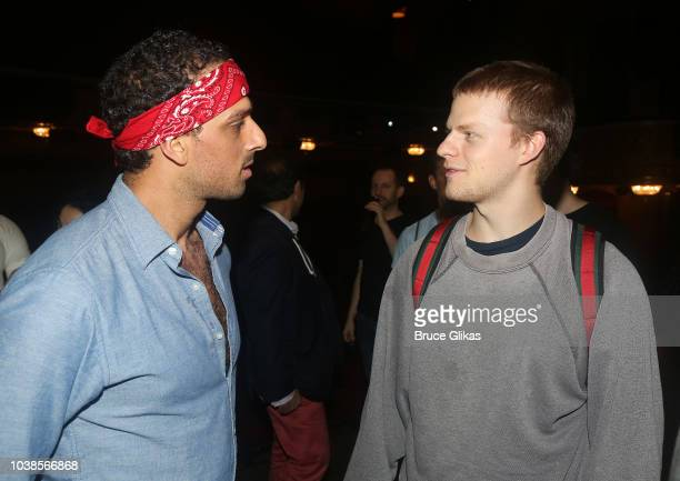 Ari'el Stachel and Lucas Hedges chat backstage at the hit musical 'The Bands Visit' on Broadway at The Barrymore Theater on September 16 2018 in New...