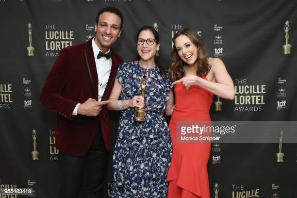 Ari'el Stachel Anne Kauffman and Erika Henningsen pose backstage at the 33rd Annual Lucille Lortel Awards on May 6 2018 in New York City
