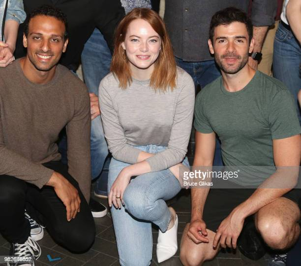 Ari'el Stachel Emma Stone and Adam Kantor pose backstage at the hit 2018 Tony Winning Best Musical 'The Band's Visit' on Broadway at The Barrymore...