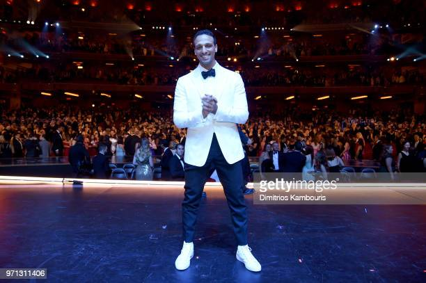 Ari'el Stachel poses backstage during the 72nd Annual Tony Awards at Radio City Music Hall on June 10 2018 in New York City