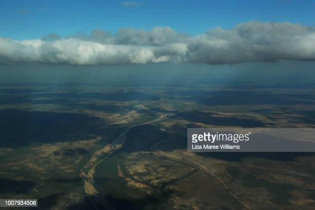 Ariel view as Royal Flying Doctor Service Pilot Ross Thomas flys towards Dunbar Station from Cairns during a medical field visit on July 26, 2018 in...