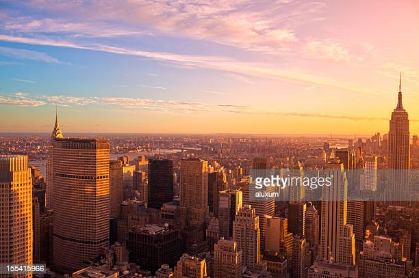 Ariel view New York City at sunset