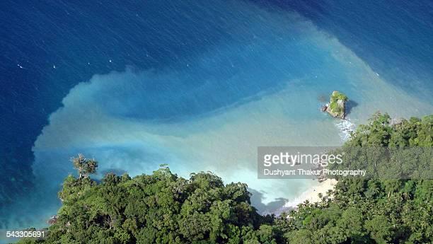 Ariel view of a pristine beach