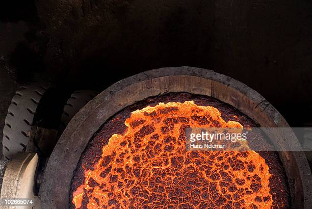 Ariel view of a truck filled with melted copper