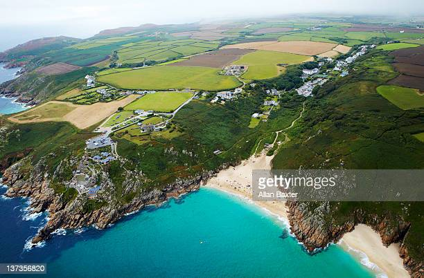 ariel view of cornwall - minack theatre stock pictures, royalty-free photos & images