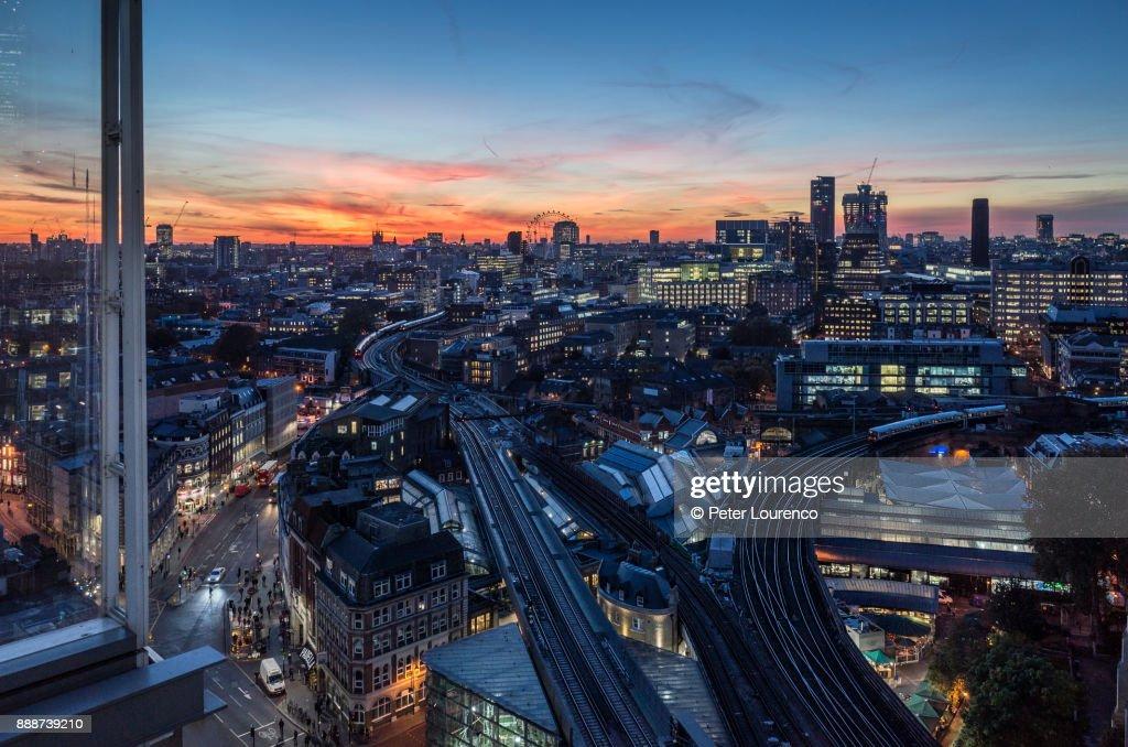 Ariel view of London Bridge - Borough Market at sunset. : Stock Photo