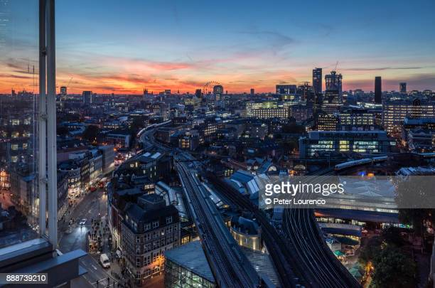 Ariel view of London Bridge - Borough Market at sunset.