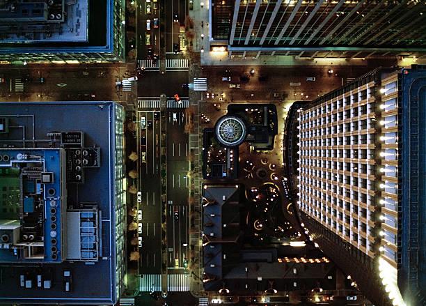 Ariel view of Marunouchi, Tokyo at night.