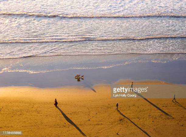 ariel view of ocean beach with people and shadows - lyn holly coorg - fotografias e filmes do acervo