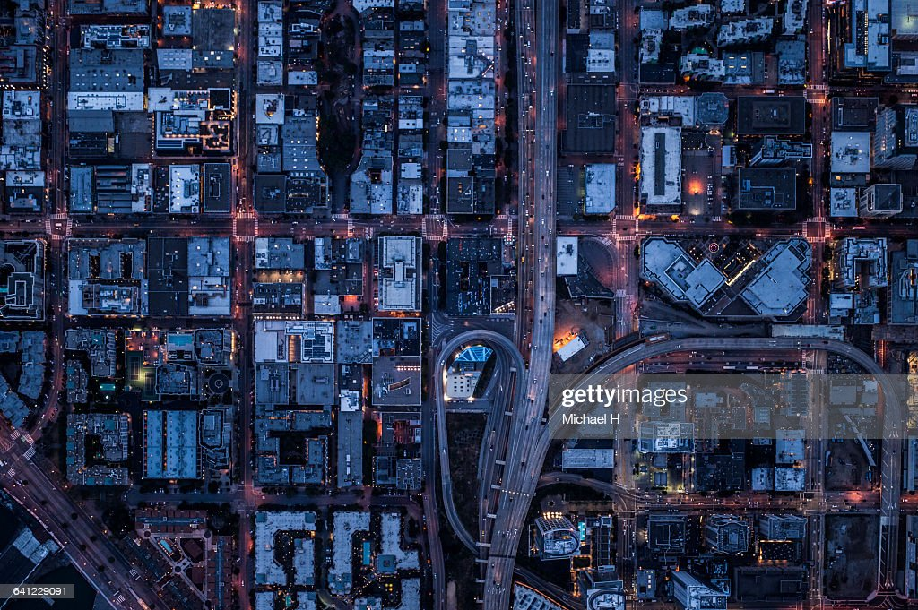 Ariel view of San Francisco, USA at night. : Stock Photo