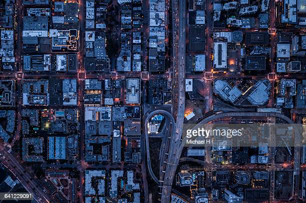 ariel view of san francisco, usa at night. - paesaggio urbano foto e immagini stock