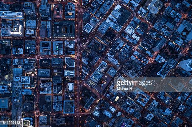ariel view of san francisco, usa at night. - overhead view stock pictures, royalty-free photos & images