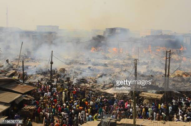 Ariel view of the burning Amu market in Lagos, January 25, 2020. There have been no casualties reported, and the cause of the fire is as yet unknown