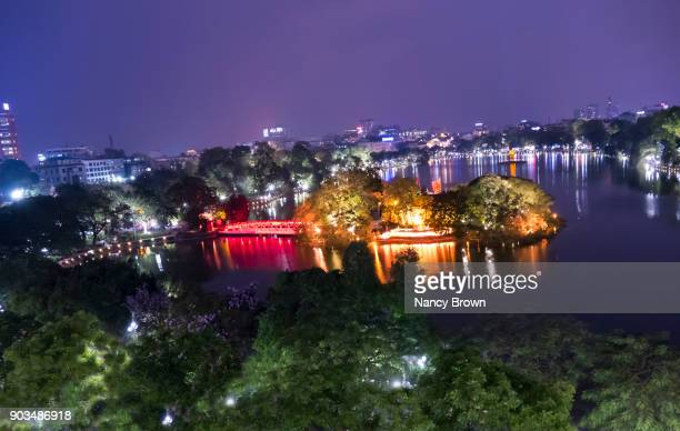 Ariel View of The Luc Bridge and Temple on Huan Kiem Lake in Hanoi Viet.