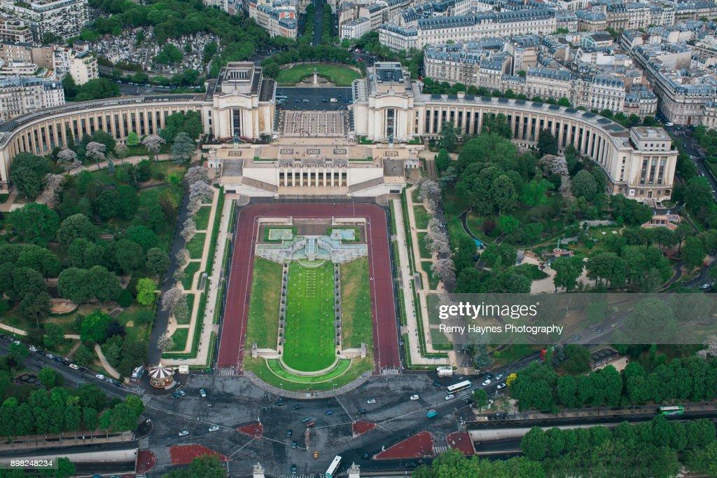 Ariel View of the Trocadero Gardens Paris, France : Stock Photo