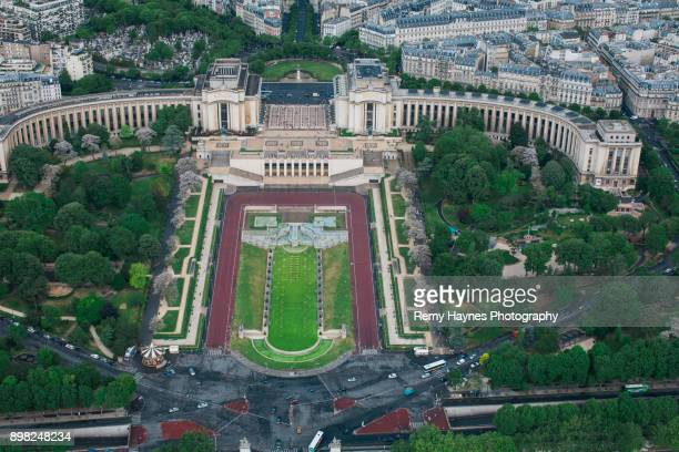 Ariel View of the Trocadero Gardens Paris, France