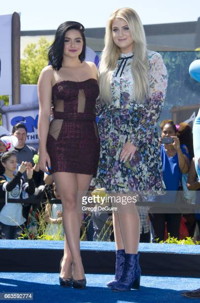 Ariel Winter and Meghan Trainor arrive at the premiere of Sony Pictures' 'Smurfs The Lost Village' at ArcLight Cinemas on April 1 2017 in Culver City...