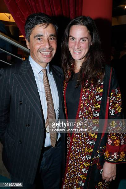 Ariel Wizman and his wife Osnath Assayag attend Le Banquet Theater play at Theatre du RondPoint on October 11 2018 in Paris France