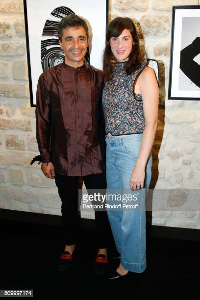 Ariel Wizman and his wife Osnath Assayag attend the Don't Take it Personally by Jade Jagger JeanBaptiste Pauchard Exhibition Party on July 6 2017 in...