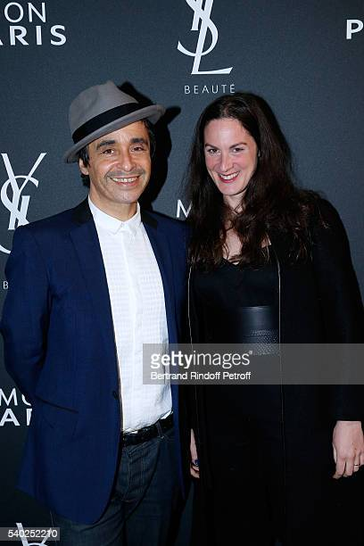 Ariel Wizman and his wife Osnath Assayag attend YSL Beauty launches the new Fragrance Mon Paris at Cafe Le Georges on June 14 2016 in Paris France