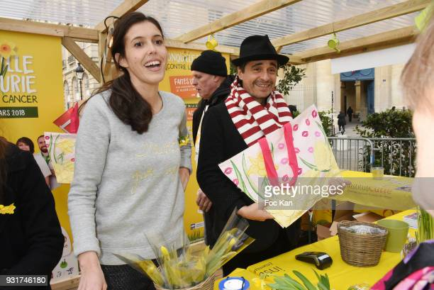 Ariel Wizman and TV presenter Carole Tolila from France5 attend Une Jonquille pour Institut Marie Curie Place du Pantheon on March 13 2018 in Paris...