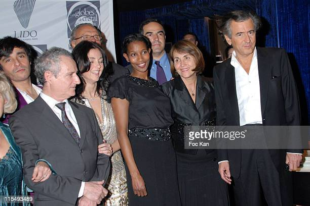 Ariel Wizman, Daniel Prevot, Cristiana Reali, Ayaan Harsi Ali, Christine Albanel and Bernard Henri Levy attend the Globes de Cristal 2008 Awards...